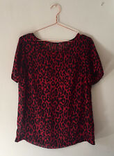 Vintage, Retro, Grunge, 90s Red Sheer Animal Print/Leopard Print T-Shirt/Blouse-