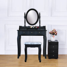 5 Drawer Vanity Table Set Dressing Table with Cushioned Stool Makeup Table Black