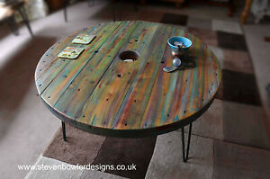 Bespoke Multi Coloured Old Boat Wood Style Round Coastal Coffee Table81 cm Dia
