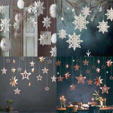 3D Snowflakes Stars Hanging Ornaments Christmas Festival Party Home Decorations
