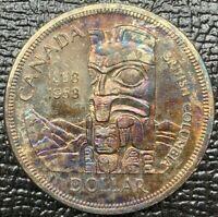 1958 CANADA 1 DOLLAR SILVER NEON BLUE PURPLE NATURAL COLOR TONED UNC BU