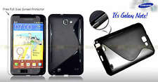 NEW BLACK S CURVE GEL CASE COVER FOR Samsung Galaxy Note i9220