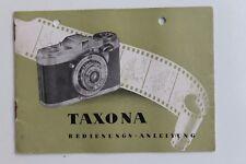 28353 Prospekt Gebrauchs Bedienungs-Anleitung Foto Kamera TAXONA  Zeiss Ikon