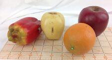 4 Artificial Fake Plastic Faux Fruit Apple Orange Pepper Staging Prop