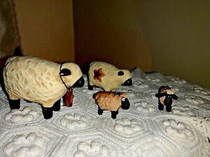 PRIMITIVE Resin Baaaa Black Face Sheep BARN STAR Family Mom Dad Baby SET DOLLS