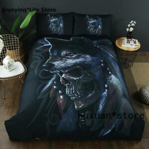 3D Skull Bedding Set Twin Full Queen King Sz Duvet Cover Duvet cover Pillowcase