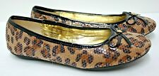 Bongo Ballet Flats Shoes Sequin over Leopard Print Size 7 Medium 38 Euro EUC
