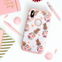 For iPhone X 7 8 Plus Pineapple Shockproof Floral Hybrid Protective Case Cover