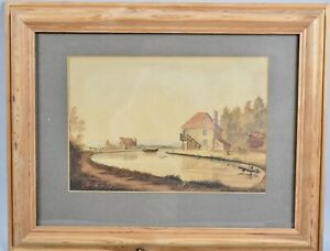 Original 19th Century Colonial Watercolour Painting Of Inlet By Farquaharson