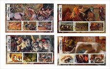 2017 EDGAR DEGAS ART PAINTINGS 8 SOUVENIR SHEETS MNH UNPERFORATED