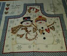 Fabric Panel Snowman Apron Snow Buddies Dianna Marcum snowflakes blue heart RARE