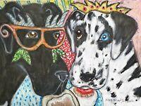 Great Dane Collectible Dog Art Print 8x10 Mardi Gras Donuts Signed Artist KSams