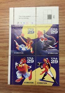 """Scott # 2750-53* US Stamp 29¢ honoring """"The Circus""""  M/NH"""