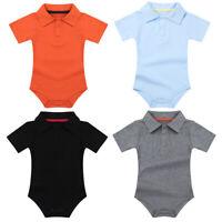 Baby Jungen Kurzarm Hemd Body mit Kentkragen Baumwolle Strampler Anzug Overall