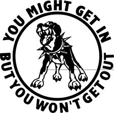 """Warning Beware Of Dog Vinyl Decal Sticker Truck Window- 6"""" Tall White Color"""