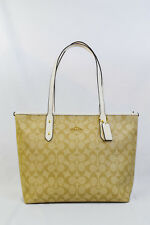 NWT! Coach Large Light Khaki / Chalk Coated Canvas City Zip Tote Bag F58292