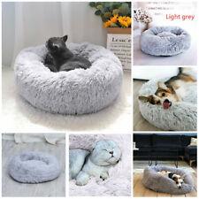 Grey Dog Cat Calming Bed Warm Soft Plush Round Cute Nesting Comfortable Sleeping