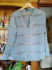 MASSIMO DUTTI SILK BLUE BLOUSE EUR 42 GOOD CONDITION