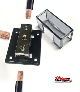New 0 Gauge In to 4 Gauge Out Distribution Block for Ground Power Amplifier