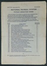 British Rail National Payroll System Payslip Deduction Codes Booklet BR6416/1