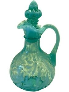 """Antique Northwood EAPG Blue Opalescent """"Spanish Lace"""" Pattern Cruet with Stopper"""