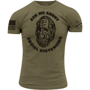 Grunt Style Ask Me About Social Distancing T-Shirt - Military Green