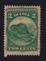 Canada VD #QR4 (1870) 2c Green BEAVER REGISTRATION Stamp Revenue Mint