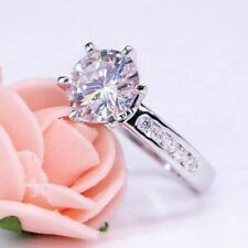 2.70 Ct White Round Cut Moissanite Solitaire Engagement Ring 14k White Gold