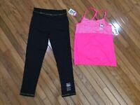 NWT Hello Kitty 2 Pc Outfit Pink Top Blouse Black Pants Leggings Sz 14/16 (HK-1)