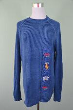 Mens Vintage 90s Retro Azul Jersey de punto acanalado Hippy Bordado Carrera Talla M/L H53