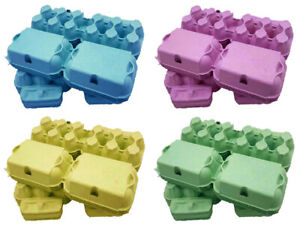 64 - 280  X NEW 1/2 DOZ  4 MIXED COLOURS 'FLAT TOP' EGG BOXES FOR MED-LARGE EGGS