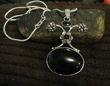 """Natural Black Onyx stone pendant 2.5"""" with 18"""" chain"""