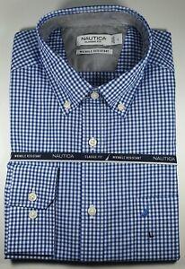 New Authentic Nautica Men Classic Fit Wrinkle Resistant Plaid Dress Shirt SALE