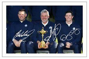 WESTWOOD CLARKE & MCILROY 2016 RYDER CUP SIGNED AUTOGRAPH PHOTO PRINT GOLF
