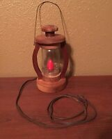 Vintage Unique Handmade Wooden Lantern Look Lamp with Hanger and Red Bulb