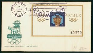 MayfairStamps Costa Rica 1960 Souvenir Sheet Olympic Coat of Arms First Day Cove