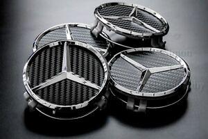 4 Mercedes CARBON FIBRE effect Wheel Hub Caps Fit all Cars with original wheels