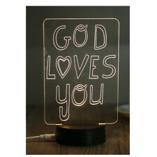 3D LED Night Light Desk Table Lamp Home Decor Jesus Christ God Loves You (JSS-B)