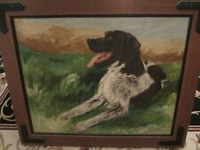 Davis signed original dog oil on canvasboard painting wood framed!