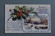 R&L Postcard: Greetings, Christmas Village Windmill Snow Scene, Wildt & Kray