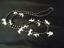 """17"""" Milagros Necklace Hand Painted Wooden Black Beads. 12 Silver Color Milagros"""