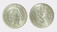 pci4569) Netherlands  Juliana -  2 + 1/2 gulden  1966 silver