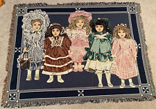 Vintage Jacquard Chatham Collectors Blanket Porcelain Dolls Woven Tapestry Throw