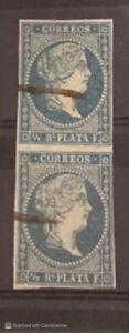 1855 Cub & Puerto Rico  Scott #1, Loop Watermark,Ultramar 1st Stamp, XF, Pair