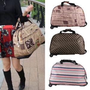 "20"" Travel Bag Holdall Hand Luggage Womens Weekend Handbag Wheeled Trolley"