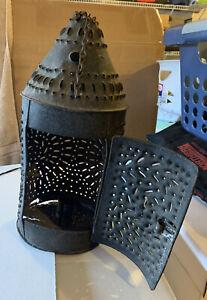 Original Primitive Antique Cast Metal Candle Lantern