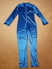 70s Shiny Electric Blue Disco Catsuit XL Front Zip Buck Rodgers Unitard Costume