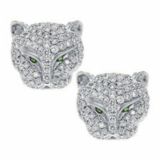 New Silver Leopard Head Rhinestone Crystal Earrings Animal Ear Studs Jaguar Cat