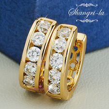 18K Yellow GOLD GF Womens ROUND Huggie EARRINGS with SWAROVSKI DIAMOD SEX443