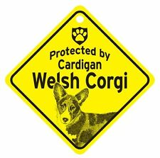 Protected by Cardigan Welsh Corgi Dog Car Window Sign